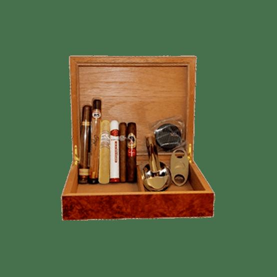 Cigarrpaket Humidor i Valnöt och 6 Cigarrer